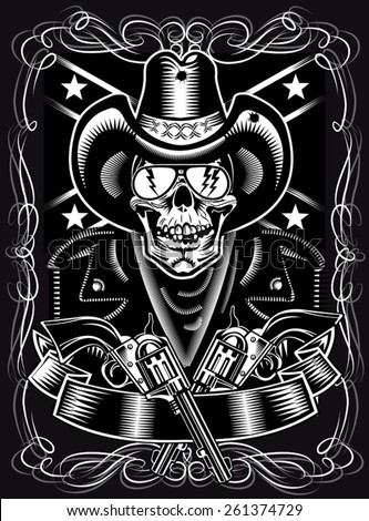 Cowboy Skull and Revolver - stock vector