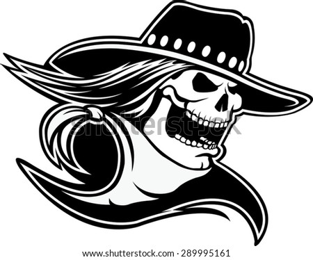 Cowboy Skull BW  Cartoon of a skull with western hat and bandanna. Vector file. - stock vector