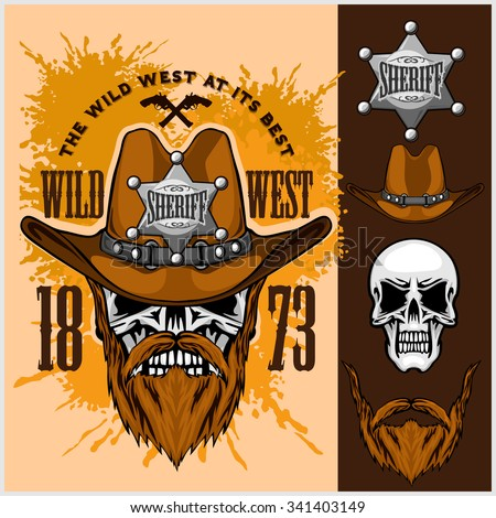 Cowboy Skull in the Hat and Sheriffs star on grunge background - stock vector