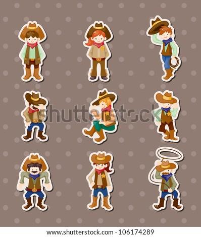 cowboy stickers - stock vector
