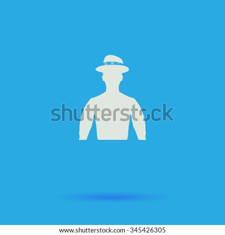 Cowboy White flat vector simple icon on blue background with shadow  - stock vector