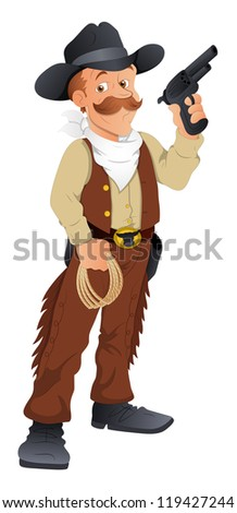 Cowboy with Gun -  Vector Character Illustration