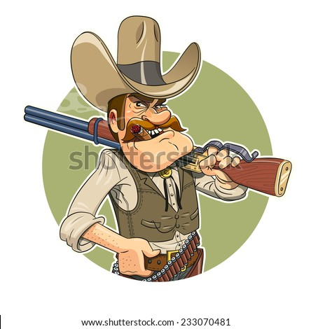 Cowboy with gun. Vector illustration. Isolated on white background - stock vector