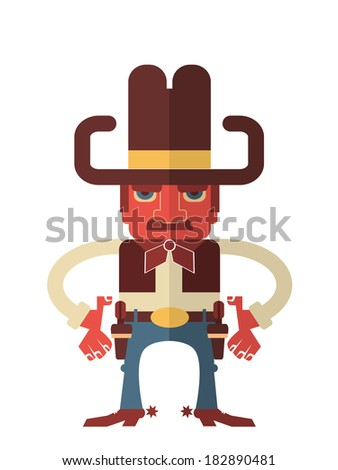 Cowboy with guns.Vector flat design style illustration isolated on white - stock vector