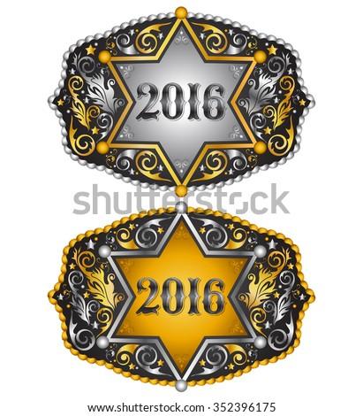Cowboy 2016 year sheriff badge belt buckle design, 2016 western emblem  - stock vector