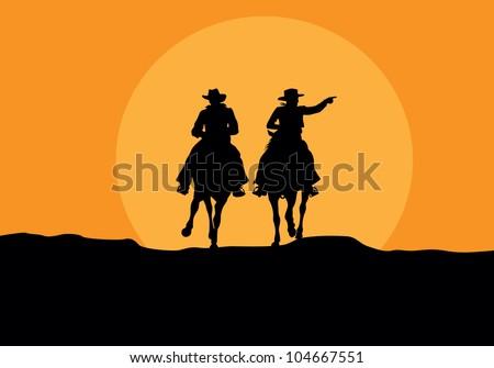cowboys - stock vector