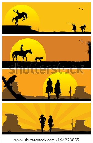 Cowboys and western landscape, vector - stock vector
