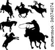 Cowboys on horses silhouettes on a white background. - stock photo