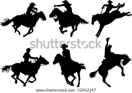 Cowboys on horses silhouettes on a white background. - stock vector