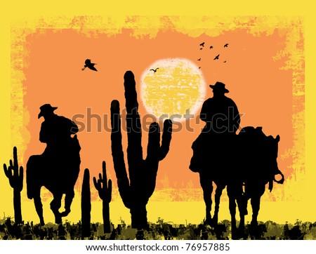 Cowboys silhouette on desert, against a grunge background, vector illustration - stock vector