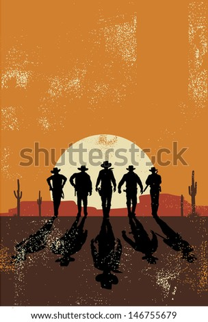 Cowboys walking towards at sunset in grunge style, vector - stock vector