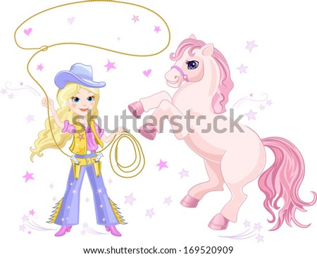 Cowgirl Lasso and Pony - stock vector