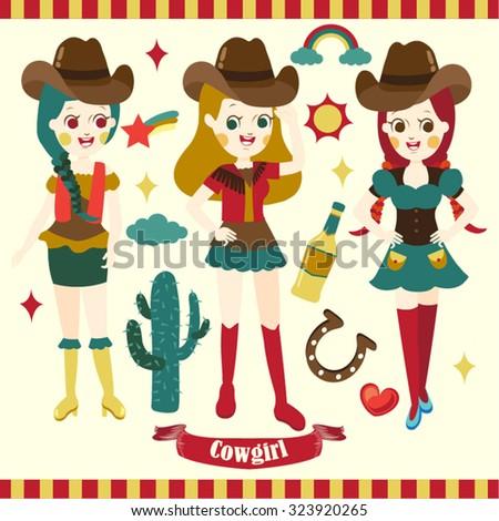 Cowgirl Vector Design Illustration - stock vector