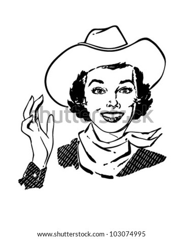 Cowgirl Waving - Retro Clipart Illustration - stock vector