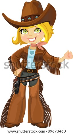 Cowgirl with revolver - stock vector