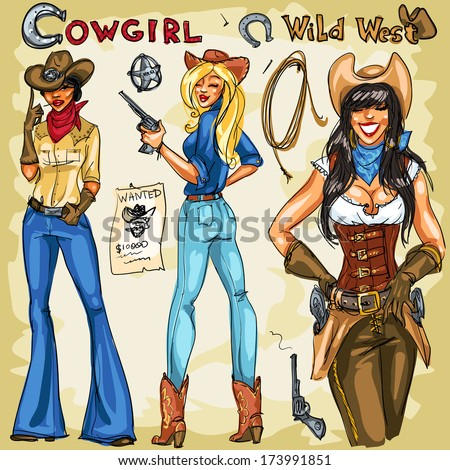 Cowgirls hand drawn collection. Part 1 - stock vector
