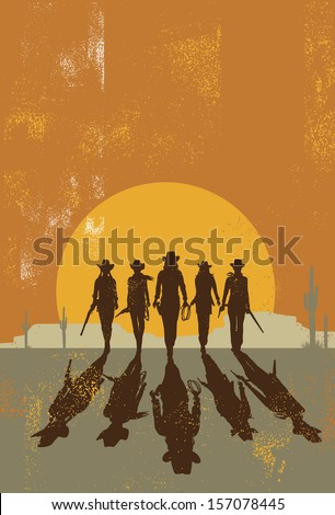 Cowgirls walking towards at sunset ,vector - stock vector