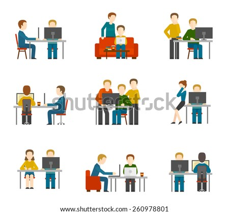 Coworking center icons set with freelancer designer colleagues creative group working isolated vector illustration - stock vector