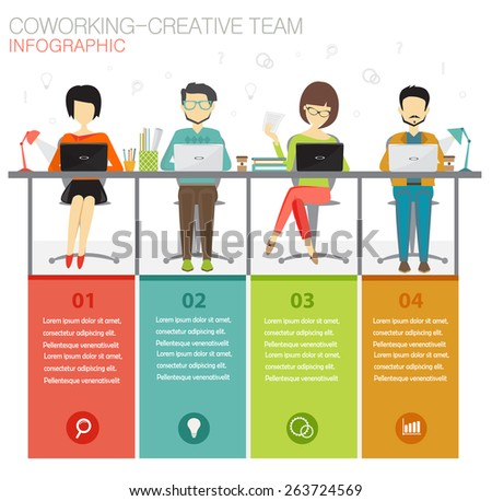 coworking, creative team infographic concept - stock vector