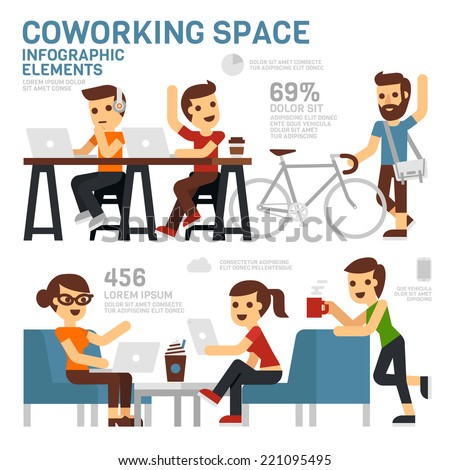 Coworking Space Infographics - stock vector