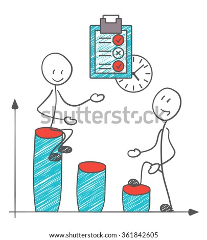 Coworking. Two businessmen with charts. Happy business vector. - stock vector