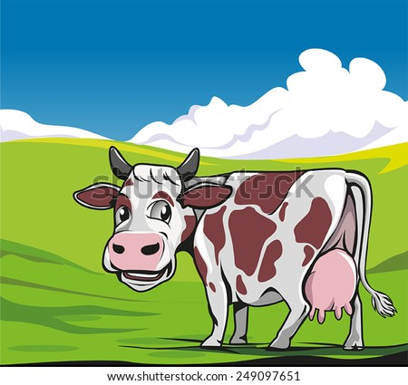 Cows in a meadow green background - stock vector