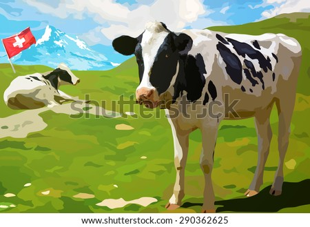Cows on mountain meadow in Switzerland. - stock vector