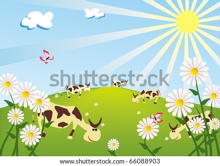 cows on the sunny meadow - stock vector
