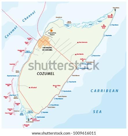 Cozumel Beach Road Vector Map Mexico Stock Vector 1009616011