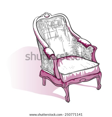 Cozy armchair sketch - stock vector