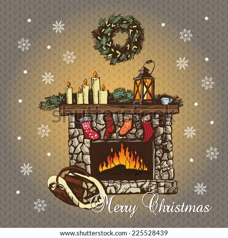 Cozy Christmas Fireplace. Graphic illustration. Hand drawing. Knitted background. Can be used for greeting cards, invitations, and other print and web projects - stock vector
