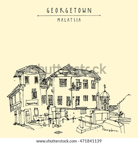 Cozy colonial building and a mosque in old historical part of Georgetown, Penang, Malaysia, Southeast Asia. Eclectic style Hand drawing. Travel sketch. Book illustration, postcard or poster in vector