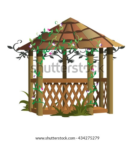 Cozy gazebo for landscape design. Vector.