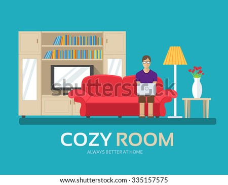 Cozy house in flat design background concept. The guy sitting on the couch in the room and around furniture. Icons for your product or illustration, web and mobile applications. - stock vector