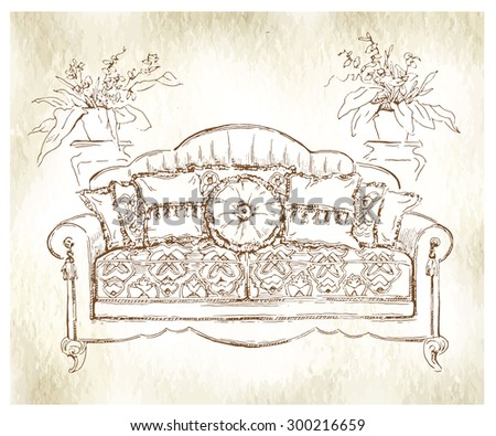Cozy interior draw. Sofa. Ornate decor. ?utotraced vector sketch, color. Interior decoration. Lineart. Old paper texture. - stock vector