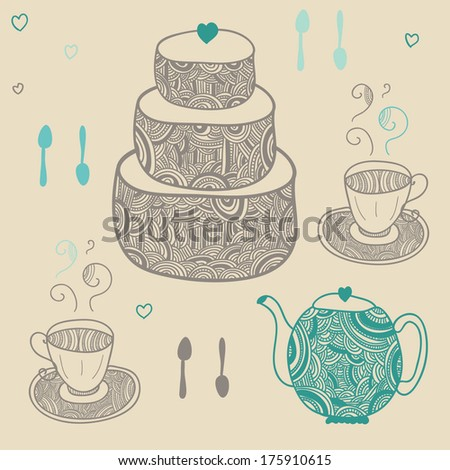 cozy tea time set with cake