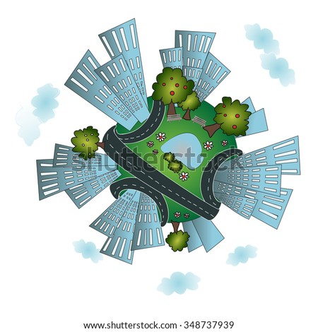 Cozy urban planet with buildings, roads, and park. City on the Earth. City buildings on globe. City background. White background variant - stock vector