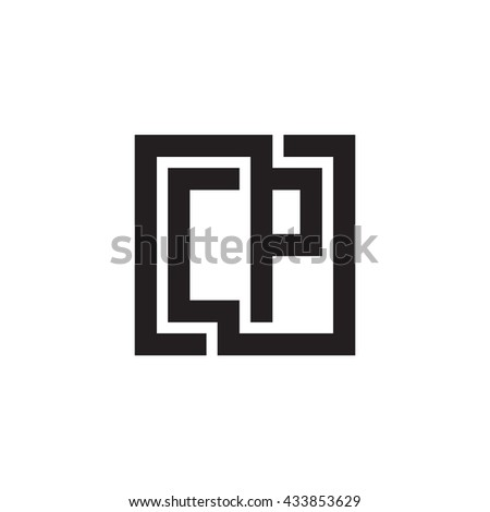 CP initial letters looping linked square monogram logo