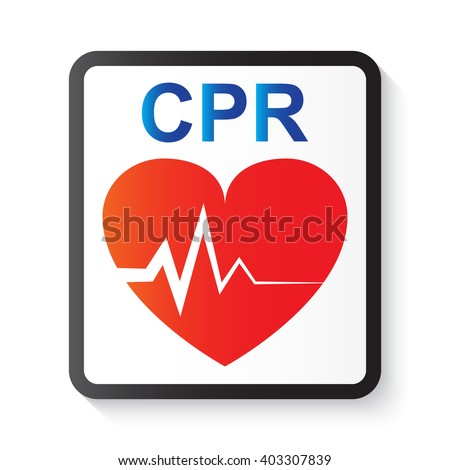 CPR (cardiopulmonary resuscitation), heart and ECG (Electrocardiogram) image for basic life support and advanced cardiac life support - stock vector