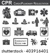 CPR ( Cardiopulmonary resuscitation ) icon ( black & white , flat design ) , Basic life support ( BLS )and Advanced cardiac life support ( ACLS )( mouth to mouth , chest compression , defibrillation ) - stock photo