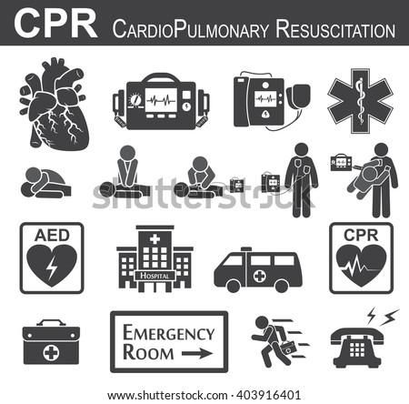CPR ( Cardiopulmonary resuscitation ) icon ( black & white , flat design ) , Basic life support ( BLS )and Advanced cardiac life support ( ACLS )( mouth to mouth , chest compression , defibrillation )