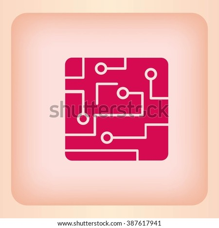 CPU and electronic chip icon , vector illustration. Flat design style - stock vector