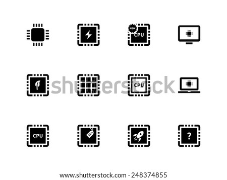 CPU and microprocessor icons on white background. Vector illustration. - stock vector