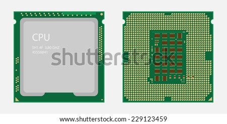 CPU. Central processing unit. Computer chip or microchip. - stock vector