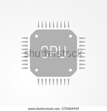 CPU, central processing unit, computer chip or microchip icon - stock vector