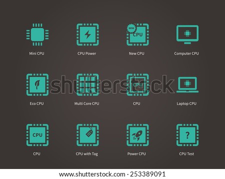 CPU (central processing unit) icons set. Vector illustration. - stock vector