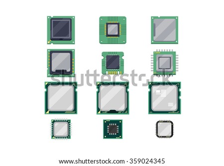 CPU Chips Vector Illlustration Set - stock vector