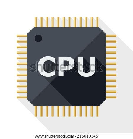 CPU icon with long shadow on white background - stock vector