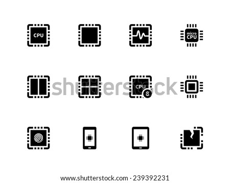CPU icons set (central processing unit). Vector illustration. - stock vector