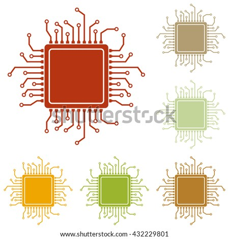 CPU Microprocessor illustration - stock vector